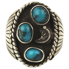 Navajo Sterling Silver Men's Ring w/ Turquoise