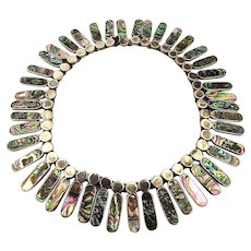 Gorgeous Sterling Silver Mexican Collar Necklace 44 Abalone Links