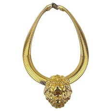 Vintage Goldtone Omega Necklace w/ Lion Head