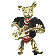 Guitar Playing Rocker Mouse Pin Brooch - Jointed Enamel 1950s