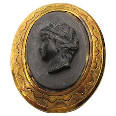 Vintage CORO Black Glass Cameo Pin Brooch