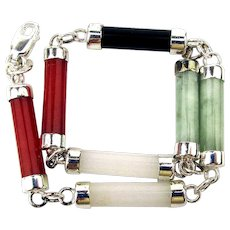 Dainty Sterling Silver Jade Link Bracelet Multi Colors