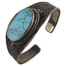 Old Persian Sterling Silver Cuff Bracelet w/ Spider Web Turquoise