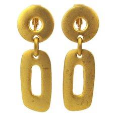 Kenneth J. Lane Matte Goldtone Clip Earrings KJL Dangles