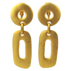 Kenneth J. Lane Matte Goldtone Clip Earrings KJL Dangles