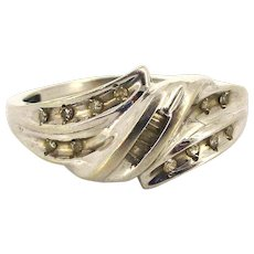Estate 10K White Gold Diamond Ring
