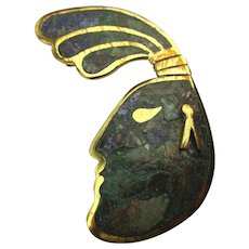 Old Mexican Stone Inlay Head Face Pin Pendant Unique Hair Mixed Metal