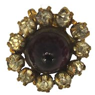 Long Victorian Hat Pin w/ Rhinestones - Amethyst