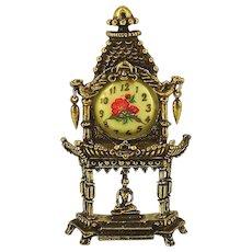 Ornate Vintage Clock Pin Brooch - Temple w/ Seated Buddha Figurine
