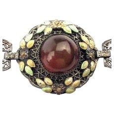 Old c1920s Filigree Amber Glass Enamel Bracelet