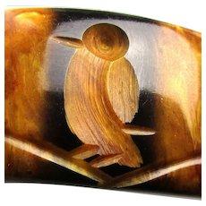 1930s Carved Bird Bakelite Bracelet Cut Thru Swirl Bangle