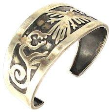 Vintage 950 Silver Peruvian Cuff Bracelet w/ Nazca Symbols