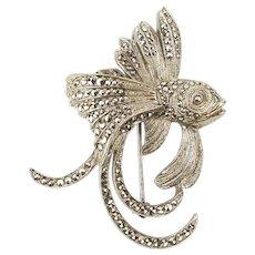 Art Deco Sterling Silver Fish Pin Brooch w/ Marcasite