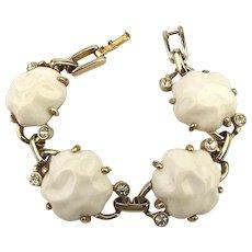 Vintage White Glass Nugget Link Bracelet w/ Subtle Sparkle