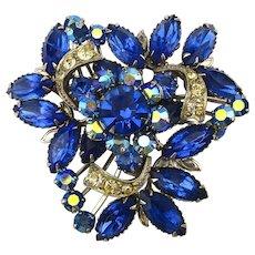 Vintage Cobalt Blue Crystal Rhinestone Pin Brooch
