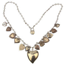 Victorian Puffy Hearts Sterling Silver Necklace - 14 Charms on Long Chain