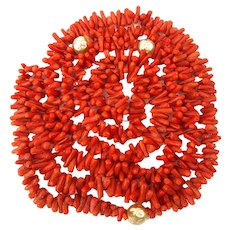 Long Branch Coral Necklace - 46 Inch Rope of Gorgeous Natural Color