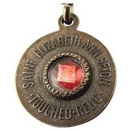 Vintage Saint Elizabeth Ann Seton Touched Cloth Catholic Relic Medal Pendant