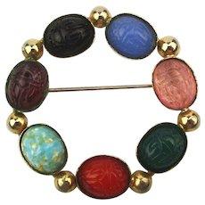 Vintage Scarab Circle Pin w/ Carved Gemstones