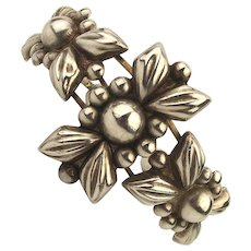 Vintage Mexican Floral Cuff Bracelet for Wide Wrist