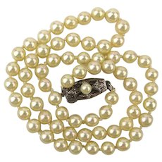 Vintage Mikimoto Cultured Pearls 4mm Strand Necklace Sterling Clasp