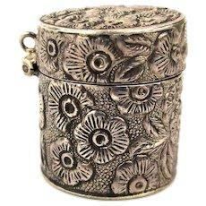 Antique Sterling Silver Thimble Case Repousse Floral