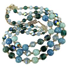 Vintage 3 Strand Necklace - Crystal Glass AB Beads - Calming Colors