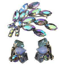 1950s Aurora Borealis Crystal Rhinestone Pin Earrings Set