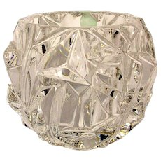 Tiffany & Co. Rock Cut Crystal Votive Candle Holder Paperweight