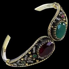 Gorgeous Jeweled 925 Hinged Bracelet w/ Glass Faux Rubies Emeralds Diamonds