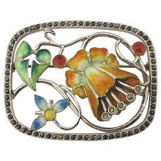 Art Deco Sterling Silver 3-D Flower Pin - Enamel Marcasite Trembler Style