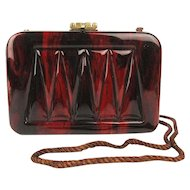 Sassy Brazilian Lucite Handbag Purse - Marbled Chocolato