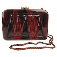 Sassy Brazilian Lucite Handbag Purse - Marbled Chocolato