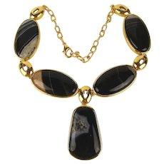 Vintage Hartman & Rose Big Black Striped Agate Stone Necklace