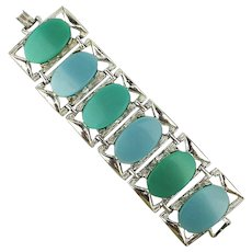 One Very Wide Thermoset Link Bracelet - Great Colors