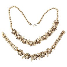 Signed WEISS Enamel Rhinestone Necklace Bracelet Set Demi Parure Floral