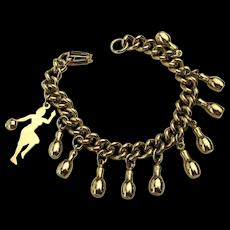 Bowling Lady Charm Bracelet w/ 10 Pins