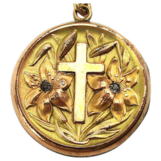 Victorian Gold-Filled Locket Ornate Cross w/ Flowers Pendant Necklace