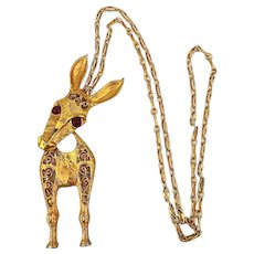 Juliana Delizza & Elster Head-Turning Donkey Pendant Necklace Book Piece
