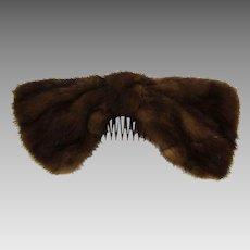 Vintage 1950s Peck & Peck Mink Hair Comb Big & Furry