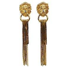 Lion Doorknocker Earrings w/ Golden Cascade