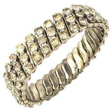 Vintage 3 Row Rhinestone Expansion Bracelet - Sparkle & Stretch