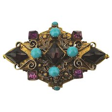1960s Original By Robert Victorian Style Pin Brooch Jeweled Russian Gilt