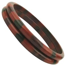 Pair of Bakelite Bangle Bracelets Multi Color Infused Stripes