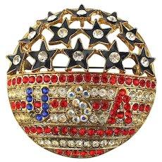 Vintage USA Patriotic Rhinestone Enamel Pin - Pendant