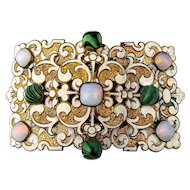 Rare French PIEL FRERES Art Nouveau Enamel Opal Glass Gilt Buckle Jeweled