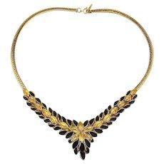 Vintage Trifari Gilt Leaf Necklace w/ Black Enamel