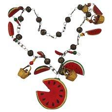 Old Mexican Souvenir Watermelon Basket Charm Necklace