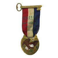 Ornate F.O.E. Fraternal Order of Eagles 1911 Delegate Medal Ribbon Enameled