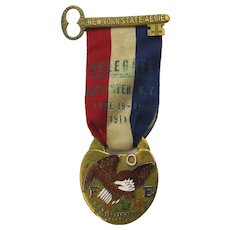 Ornate F.O.E. Fraternal Order of Eagles 1911 Delegate Medal Ribbon Enameled
